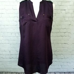 Cache Sleeveless Plum Popover